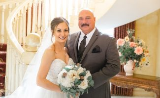 Mr. _ Mrs. Cavanaugh-142 Bride Dad by Stairs